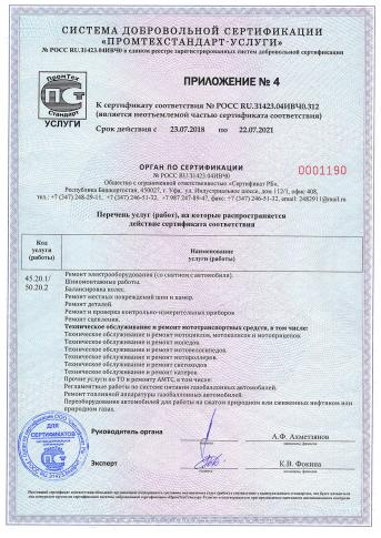 Сертификат на установку ГБО, приложение1