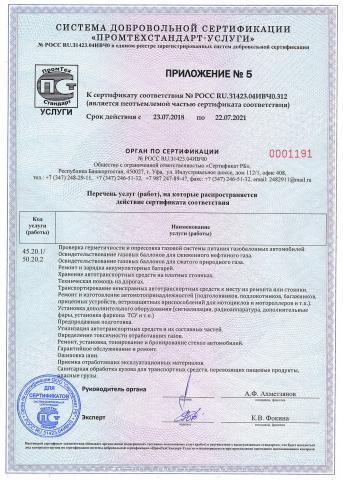 Сертификат на установку ГБО, приложение2